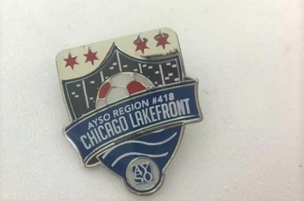AYSO Region 418 Chicago Lakefront Souvenir Pin Lapel Pinback Hat Sports