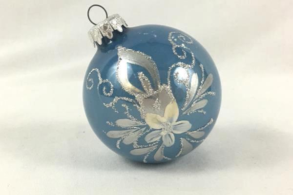 Christmas Ornament West Germany Flower Blue Mice Glitter