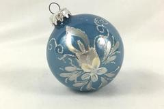 Christmas Ornament West Germany Flower Blue Mice Glitter