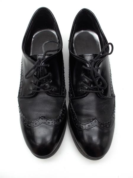 "MARC FISHER Black ""Sailor"" Wingtip Oxfords Leather Womens Size 9"