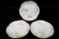 Lot of 3 Saucers by Haviland & Co Antique Schleiger France Limoges Gold Daubs