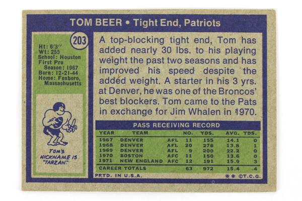 Lot of 2-1972 Topps Tom Beer TE New England Patriots #203 Football Card