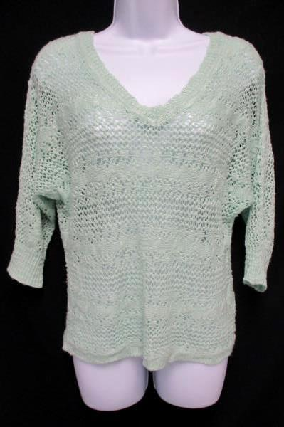 Maurices Sz Small Open Knit Pullover Sweater Mint Green V Neck Swim Suit Cover