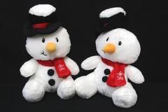 Lot of 2 American Greetings Plush Snowman Stuffed Animal Joy Top Hat