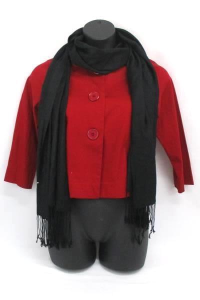 Jkla California Blazer Jacket Red 3 Big Buttons Size XL and Black Scarf