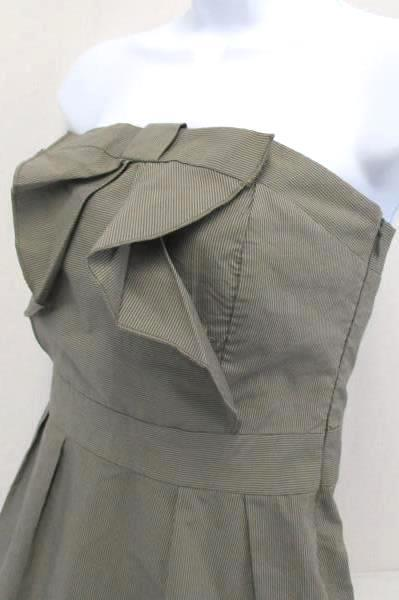 Kes Strapless Dress Mini Bow Front Gray Pinstripe Women's Size 9