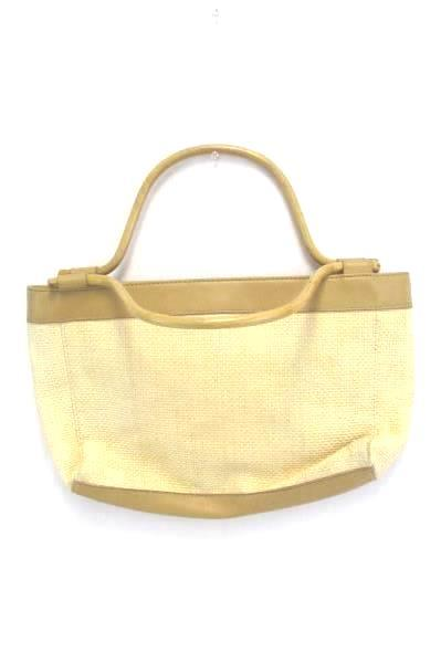 Worthington Handbag Bamboo Handle Beige Woven Paper Multiple Pockets