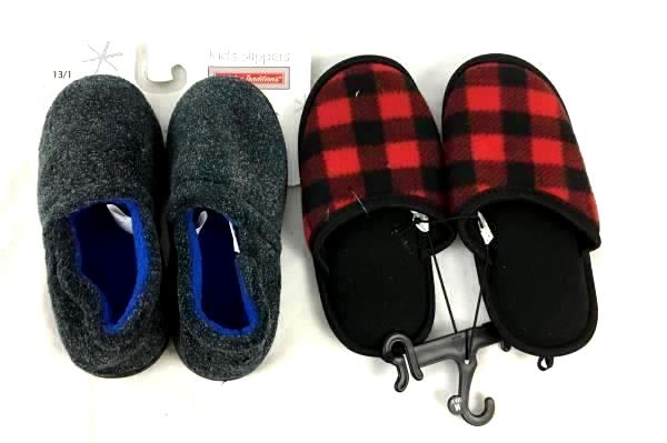 Holiday Tradition Slippers Blue Dark Gray Children's Boy's Size 13/1 Plush