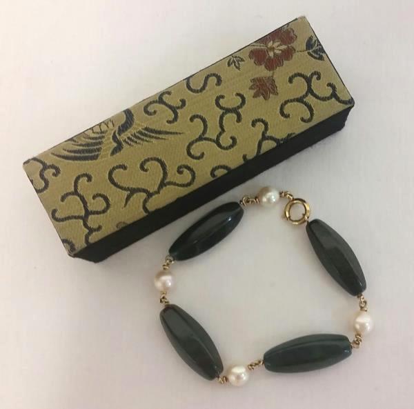 Vintage Austrian Dark Green & Pearl Bracelet w/ Gold Tone Clasp Made In Austria