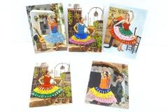 5 Vtg Postcards Tarjeta Postal Real Women w/ Embroidered and Fabric Dress