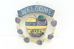 Welcome Metal Apple Hanging Wreath Decoration Home Decor Outdoor Indoor Country
