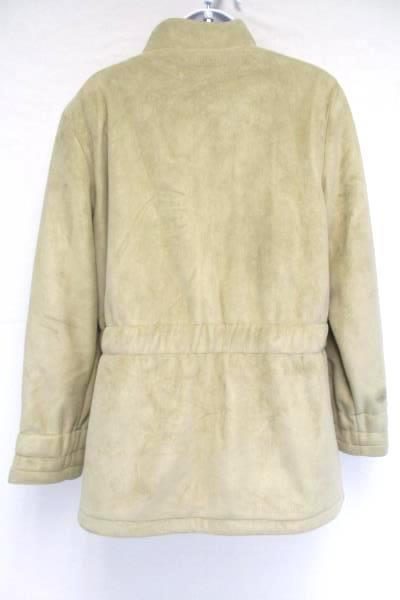 Women's Calvin Klein Tan Suede Snap Jacket Coat Designer Warm Size Large