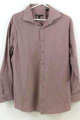 Men's Pink Striped Button Up Long Sleeve Shirt BCBG Maxazria