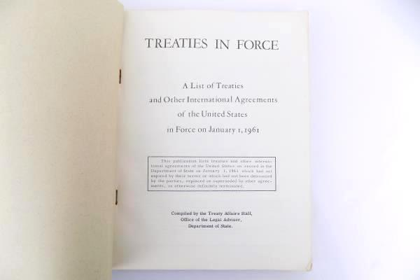 Treaties in Force (1961) by the Department of State Book