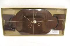 Vintage Oval Dark Wood Collapsible Serving Trivet 2 Handles In Original Package