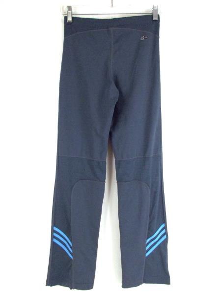 ADIDAS Leggings Wide Ankle Gray Blue Stripe Stretch Yoga Pants Women's SMALL