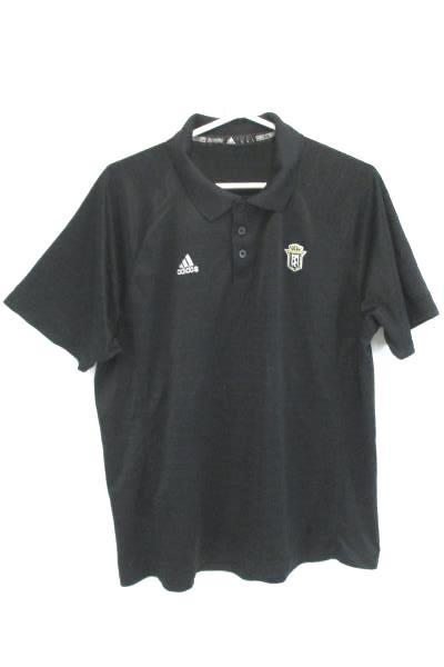 Adidas Golf Polo Short Sleeve Shirt Black Logo Gold White Men's Large