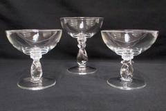 3 Pressed Clear Glass Footed Stemware Sherbet Dessert Dishes Heisey Glass Design