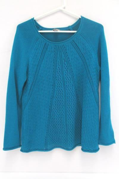 Stylish Outfit Skirt & Sweater Teal Green Blue Jaspal Skirt M Chico's Knit 1