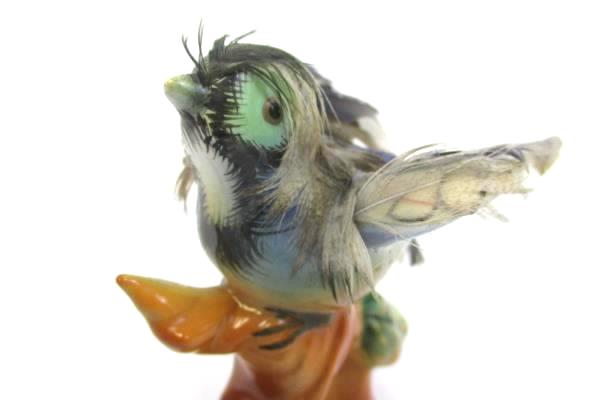 Porcelain Collectible Blue Bird with Actual Feathers Made in Japan Figurine