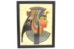Picture Of Cleopatra Made with Papyrus Paper Signed by Artist & Framed