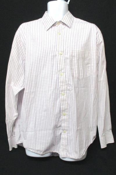 Banana Republic Men's XL 17-17.5 Cotton Plaid Shirt White Red and Blue LS Casual