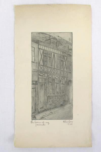 1930 Pencil Drawing on Card Stock By A. Kiefer Signed and Imprinted Antique
