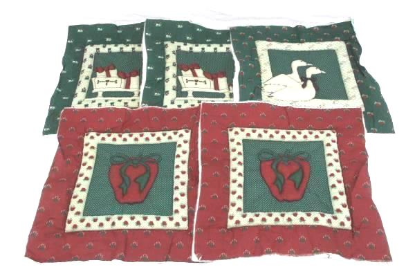 """Lot of 5 Pre-cut with Backing Christmas Holiday Theme Quilting Square 13.5 X 14"""""""