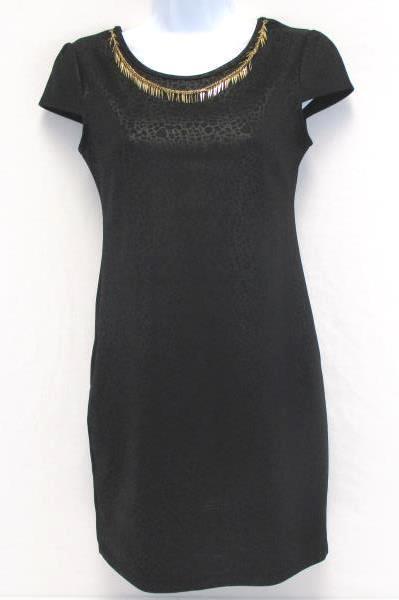 Mundo Terra Black Snakeskin Pattern Necklace Attached Body Con Dress Women's S