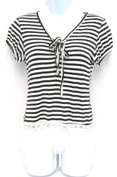 NEW Junior D'Flores Co Brown Cream Striped Short Sleeve Fringe Top Women's S