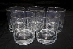 "Set of 4 Whiskey Brandy 12oz Drinking Glasses 4"" tall Circular Indented Sides"