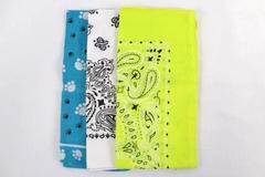Lot 3 Bandanas Yellow White Paw Print Paisley HAV A HANK Cotton Craft Headwear
