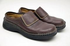BORN Brown Leather Comfort Slip On Career Clogs 6882 Women's Size 7 / 38