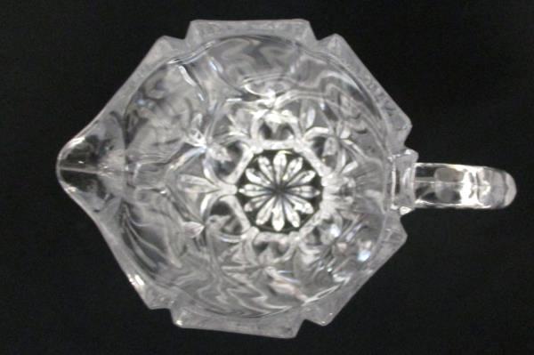 Vintage Ribbed Handle Clear Glass Pitcher Starburst Pattern 1 Quart EPOC