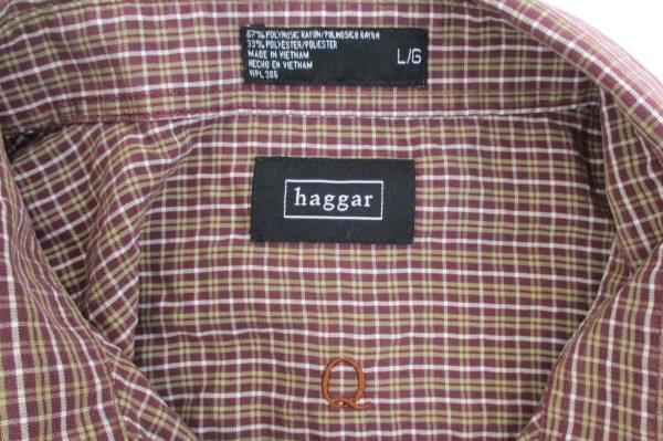 Men's Haggar Long Sleeve Button Down Brown Plaid Size Large Dress Casual