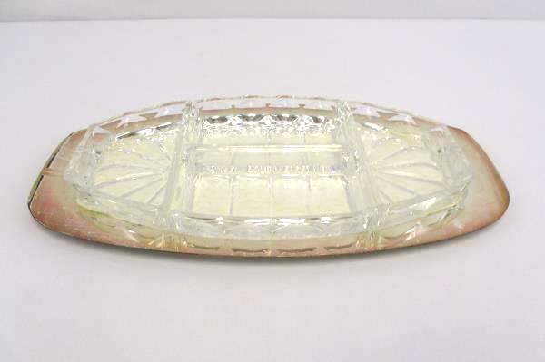 Silverplated Platter Serving Tray w/ Divided Pressed Glass 5 Pc Germany