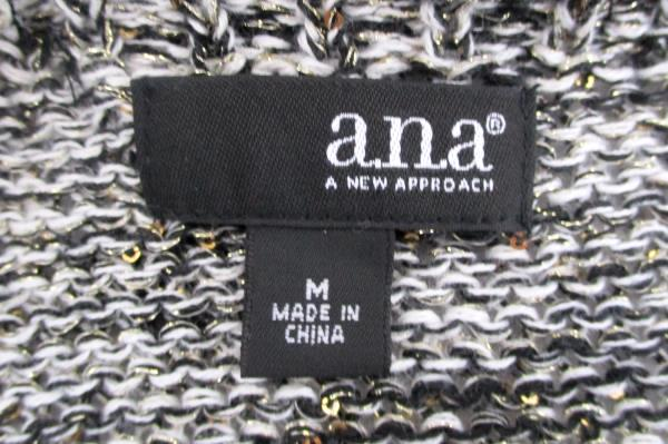 ANA A New Approach Short Sleeve Metallic Gray Short Sleeve Bow Detail Women's M