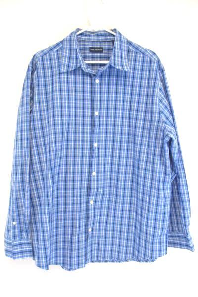 JOHN ASHFORD Long Sleeved Button Up Blue Plaid Shirt Size Extra Large