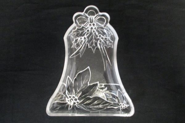 Bell Shaped Poinsettia Glass Trinket/Candy Dish Holiday Home Decor