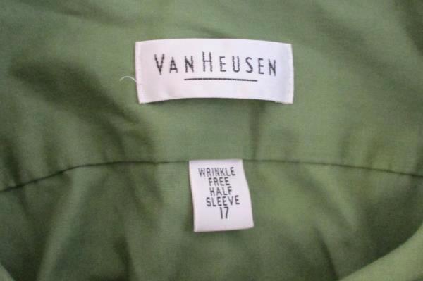 Men's Van Heusen Wrinkle Free Half Sleeve Button Down Shirt Sz 17 Olive Green