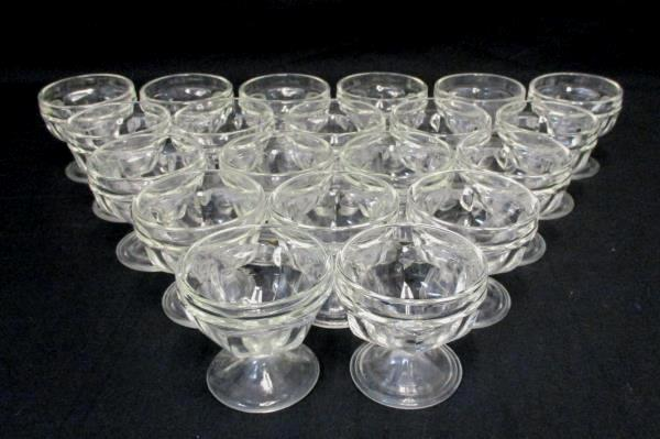 Set of 20 Vintage Federal Small Clear Cut Glass Sherbet Dessert Cups Bowls Cafe