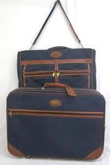 """2 Piece Vintage Jaguar Travel Set 26"""" Suitcase & 22"""" Folding Garment Bag"""