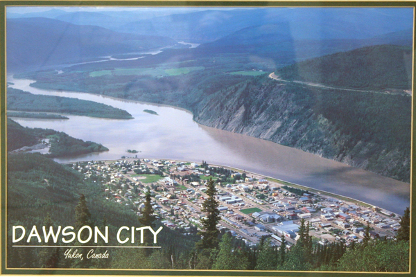 Framed And Matted Print Aerial View Of Dawson City, Yukon, Canada