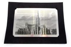 Vintage Metal Postcard UK England Salisbury Cathedral Church Souvenir Picture