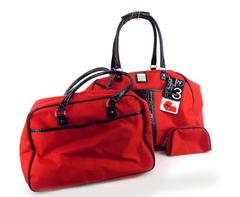 NEW DIRECTIONS 3 Piece Red Luggage Set Clutch Handbag & Suitcase Travel NWT