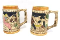 Lot of 2 Collectible Beer Steins Mexico Culture Breweriana Bar Ware