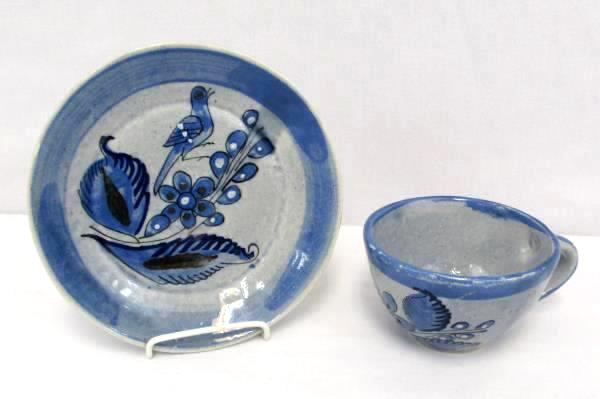 Vintage Mexican Clay Pottery Blue Gray Glazed Bird Floral Detail Cup and Saucer