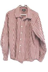 Men's Haggar Shirt Long Sleeve Button Down Red Plaid Size XL 17-17 1/2 Casual