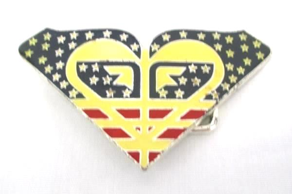 Ladies Metal & Enamel Belt Buckle Superhero Heart Flag Patriotic Red White Blue