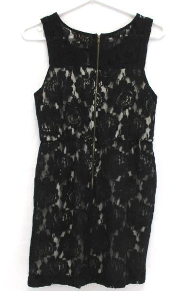 Hearts Black Lace Cream Lined Sheath Dress Above Knee Exposed Zipper Women's M
